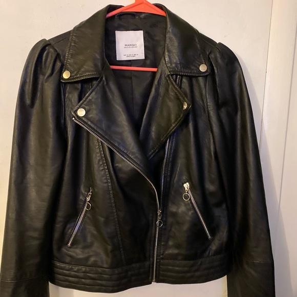 Mango Jackets & Blazers - Women's genuine black leather jacket. Size small.